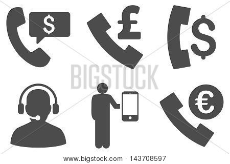 Phone Order vector icons. Pictogram style is gray flat icons with rounded angles on a white background.