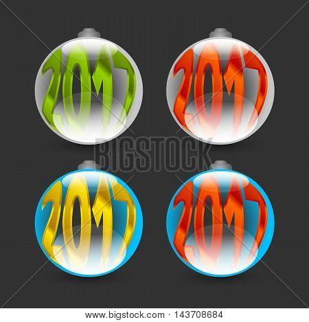 Happy New Year 2017 badges on black background