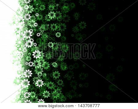pattern of flowers on a green background