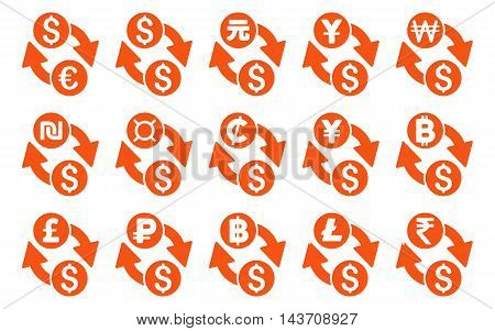 All Currency Exchange vector icons. Pictogram style is orange flat icons with rounded angles on a white background.