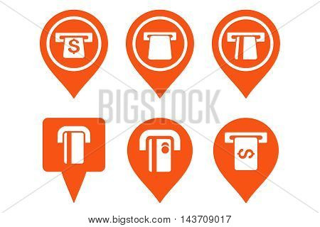 ATM Map Pointer vector icons. Pictogram style is orange flat icons with rounded angles on a white background.
