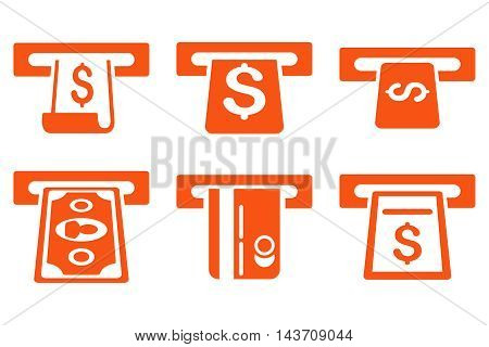 ATM Withdraw vector icons. Pictogram style is orange flat icons with rounded angles on a white background.