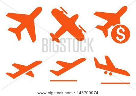 Aviation vector icons. Pictogram style is orange flat icons with rounded angles on a white background.