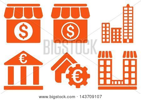 Bank Building vector icons. Pictogram style is orange flat icons with rounded angles on a white background.