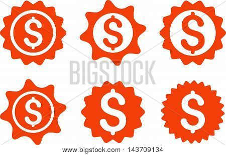 Bank Seal vector icons. Pictogram style is orange flat icons with rounded angles on a white background.