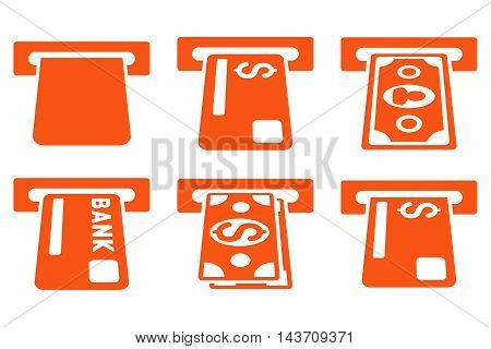 Banking ATM vector icons. Pictogram style is orange flat icons with rounded angles on a white background.