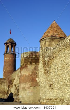 Wall and towers in the centre of Erzurum East Turkey poster