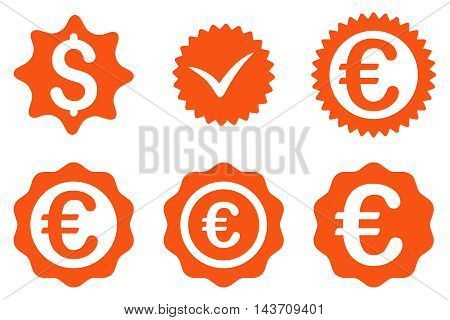 Banking Stamp vector icons. Pictogram style is orange flat icons with rounded angles on a white background.