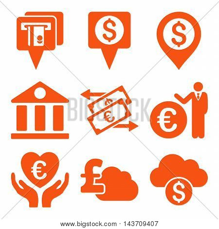 Banking vector icons. Pictogram style is orange flat icons with rounded angles on a white background.