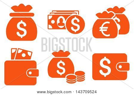 Cash Money vector icons. Pictogram style is orange flat icons with rounded angles on a white background.