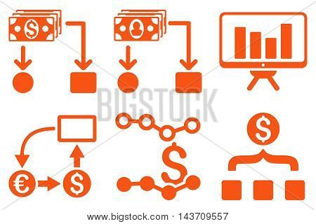 Cashflow Charts vector icons. Pictogram style is orange flat icons with rounded angles on a white background.