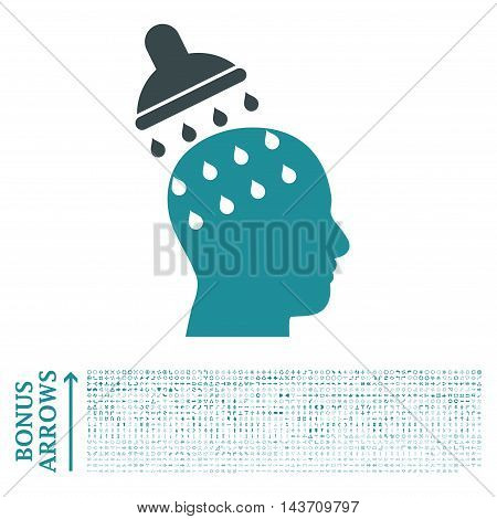 Brain Washing icon with 1200 bonus arrow and navigation pictograms. Vector illustration style is flat iconic bicolor symbols, soft blue colors, white background.
