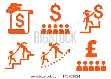 Financial Education vector icons. Pictogram style is orange flat icons with rounded angles on a white background.