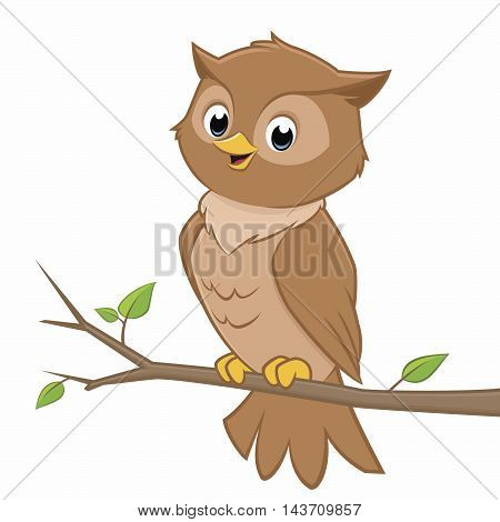 Vector cartoon illustration of an owl perching on a branch