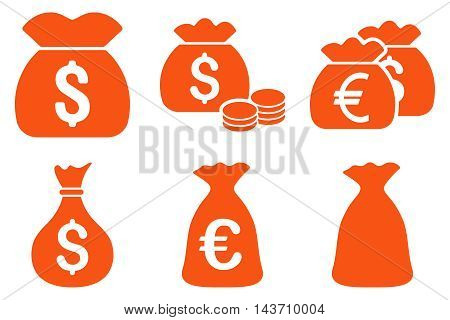 Money Bag vector icons. Pictogram style is orange flat icons with rounded angles on a white background.