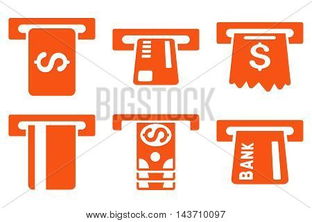 Pay Box vector icons. Pictogram style is orange flat icons with rounded angles on a white background.