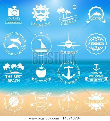 Illustration Set Summer Labels, Templates, Badges, Posters, Frames for Design of Beach Vacation, Party, Travel, Tropical Paradise. Templates for Logo - Vector