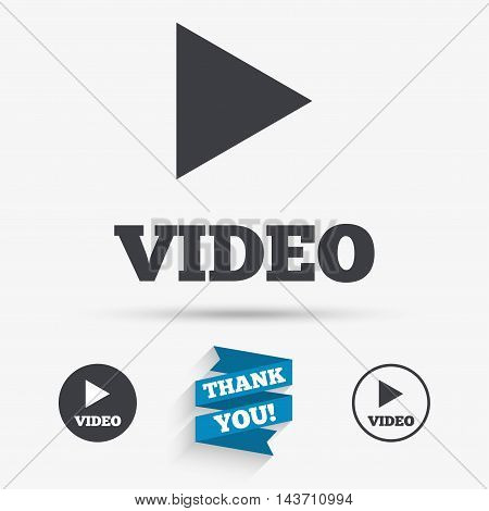 Play video sign icon. Player navigation symbol. Flat icons. Buttons with icons. Thank you ribbon. Vector