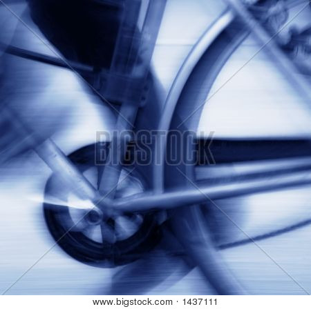 Abstract blur background of bicycle pedal chain and rear wheel in motion blue tone poster
