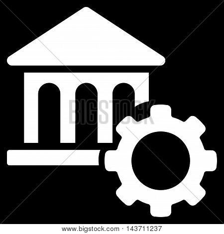 Bank Options icon. Glyph style is flat iconic symbol with rounded angles, white color, black background.
