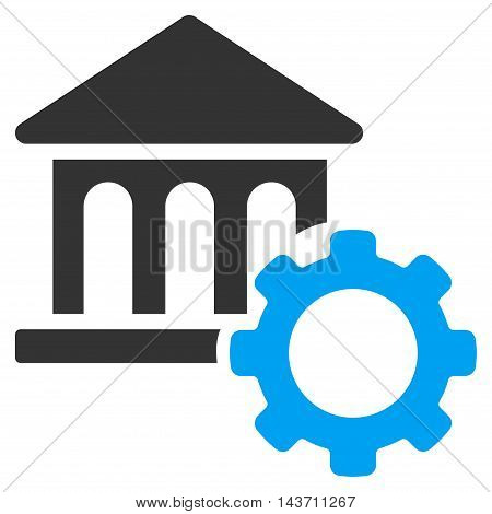 Bank Options icon. Glyph style is bicolor flat iconic symbol with rounded angles, blue and gray colors, white background.