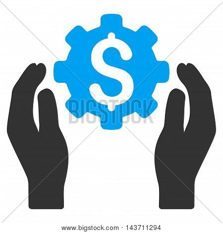 Banking Maintenance Hands icon. Glyph style is bicolor flat iconic symbol with rounded angles, blue and gray colors, white background.