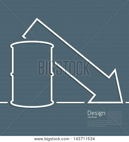Illustration arrow indicating trend falling cost oil, barrel roll, logo template corporate style - vector