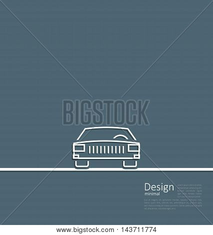 Illustration logo of car, front side, in minimal flat composition in lines style - vector