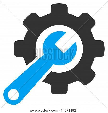 Tools icon. Glyph style is bicolor flat iconic symbol with rounded angles, blue and gray colors, white background.