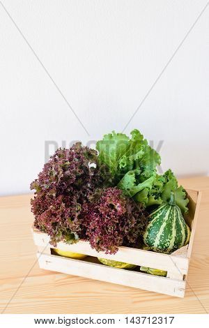 lettuce and decorative pumpkins in a box