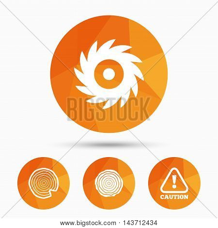 Wood and saw circular wheel icons. Attention caution symbol. Sawmill or woodworking factory signs. Triangular low poly buttons with shadow. Vector