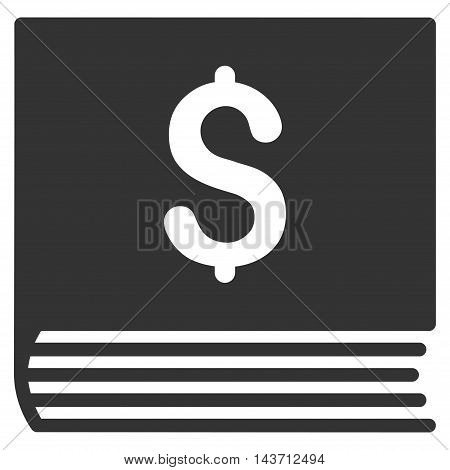 Sales Book icon. Glyph style is flat iconic symbol with rounded angles, gray color, white background.