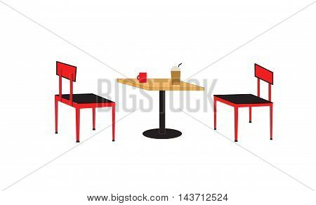 table and chair in the cafe, table and chair on white background