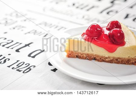 Red berry cheese cake close up and detail