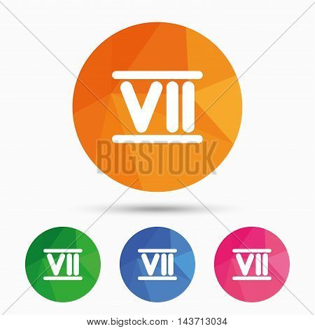 Roman numeral seven sign icon. Roman number seven symbol. Triangular low poly button with flat icon. Vector