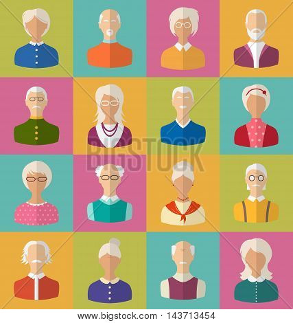 Illustration Old People of Faces of Women and Men of Grey-headed. Heads of Pensioners. Avatars. Flat Icons - Vector