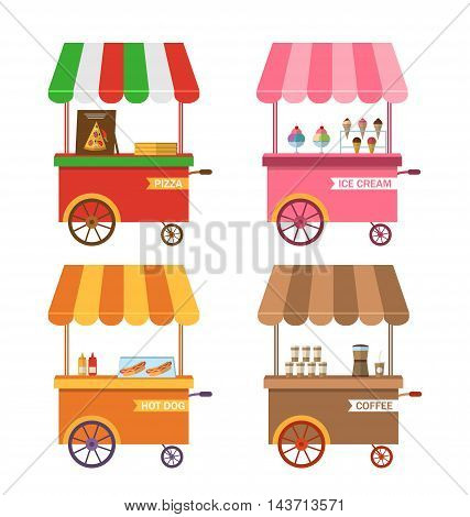 Ice cream pink cart vector icon isolated, ice cream stand, ice cream shop, ice cream vendor