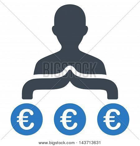 Euro Capitalist icon. Glyph style is bicolor flat iconic symbol with rounded angles, smooth blue colors, white background.