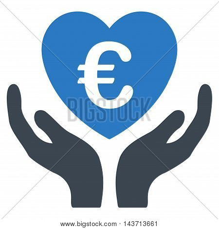 Euro Care Hands icon. Glyph style is bicolor flat iconic symbol with rounded angles, smooth blue colors, white background.