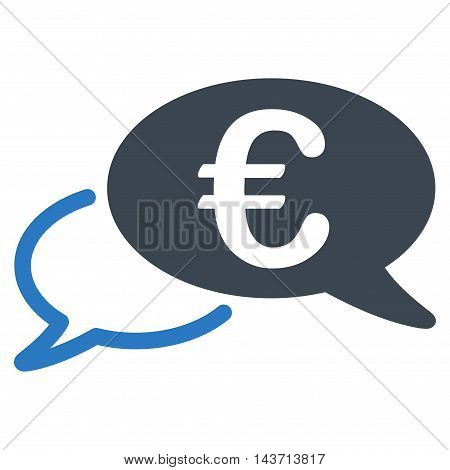 Euro Chat icon. Glyph style is bicolor flat iconic symbol with rounded angles, smooth blue colors, white background.