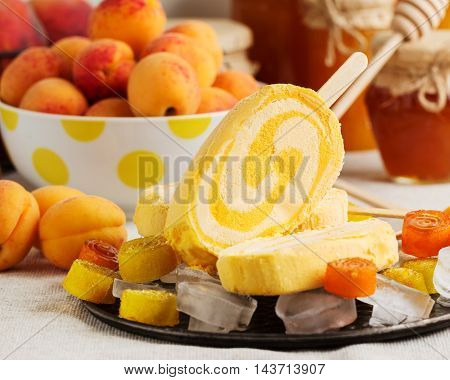 Summer dessert. Ice cream apricot. Selective focus.