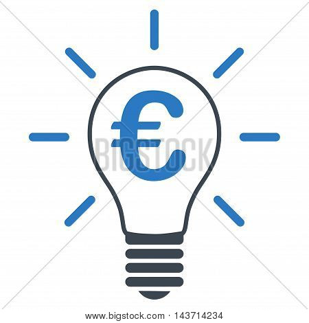 Euro Idea Bulb icon. Glyph style is bicolor flat iconic symbol with rounded angles, smooth blue colors, white background.