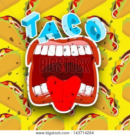 Taco Acute Mexican Food. Open Your Mouth And Protruding Tongue.