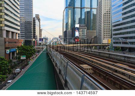 BANGKOK THAILAND - DECEMBER 20: A cityscape of Bangkok with BTS skytrain system on December 20 2015 in Bangkok Thailand.
