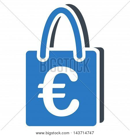 Euro Shopping Bag icon. Glyph style is bicolor flat iconic symbol with rounded angles, smooth blue colors, white background.