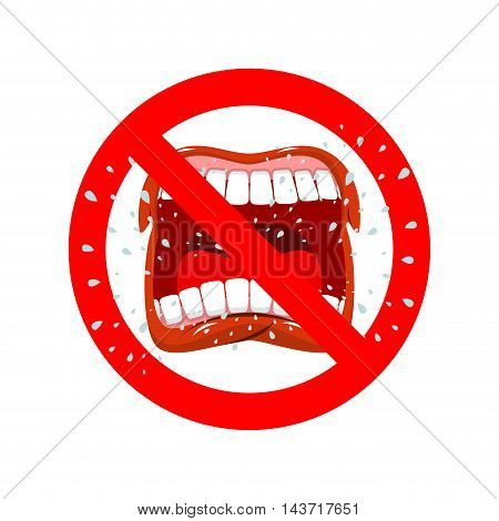 Stop Screaming. It Is Forbidden To Shout And Swear. Crossed-open Mouth. Emblem Against Aggression. R