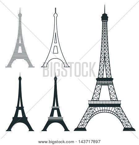 Different eiffel tower vector landmark set. French architecture monument, famous romantic place illustration