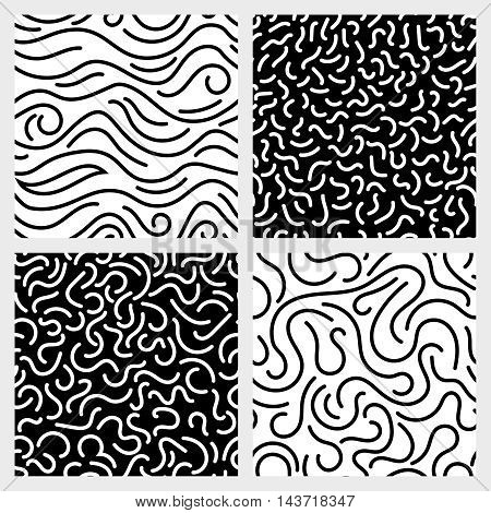 Hand drawn marker, ink, line, stroke, squiggle vector seamless patterns. Abstract monochrome background with curve line illustration