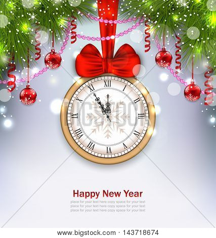 Illustration New Year Midnight Background with Clock, Balls and Fir Twigs - Vector