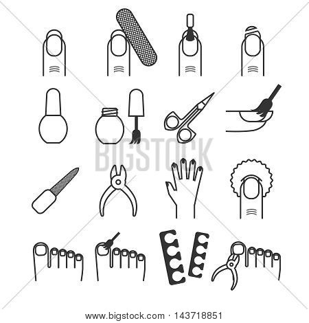 Nail care, manicure and cutter, spa vector icons. Care to hand and foot, tools for pedicure illustration